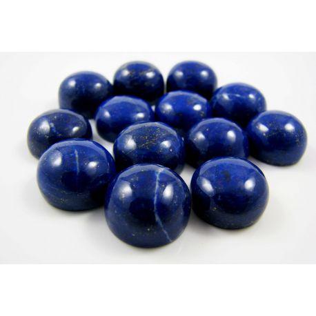 Lazurito kabošonai, nedažyti, apvalios formos, 12 mm mėlynos spalvos su Pirtio dulkėmis, kilmės šalis Afganistanas