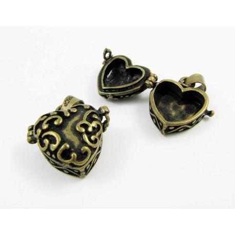 """Pakabukas """"Norų dėžutė"""", širdelės formos, sendintos bronzinės spalvos, 24x19 mm"""