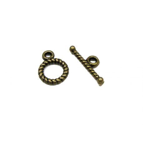 Užsegimas su lazdele grandinėlei, virvutei, pakabukui sendintos bronzinės spalvos 12x9 mm
