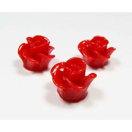 Kamėja - rožytė rankdarbiams, pakabukams raudonos spalvos 14x13 mm