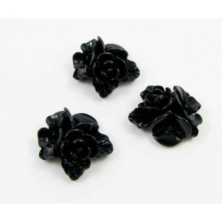 Kamėja - gėlytės rankdarbiams, pakabukams juodos spalvos 16x16 mm