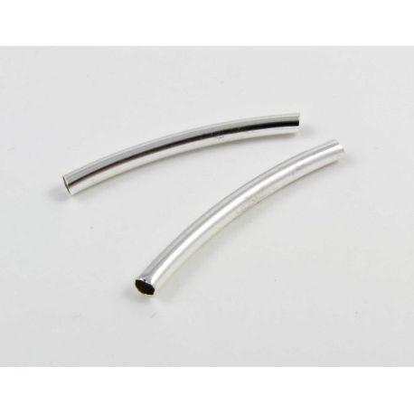 Intarpas skirtas papuošalų gamybai sidabro spalvos vamzdelio formos 30x3 mm