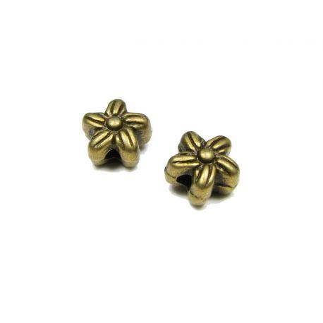 Intarpas skirtas papuošalų gamybai sendintos bronzinės spalvos gėlytės formos 7 mm