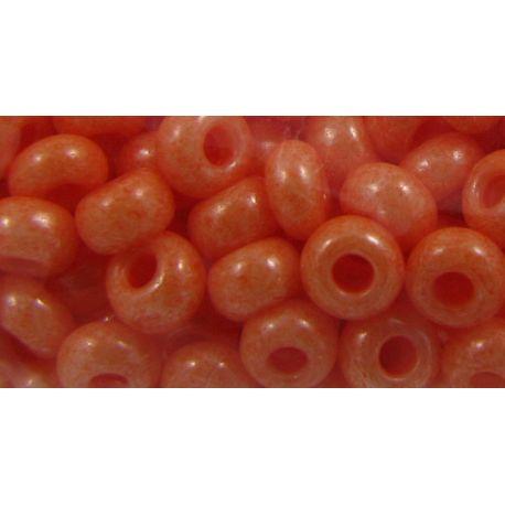 Čekiškas biseris 8/0 (2,9 mm) dydžio, oranžinės spalvos, apvalios formos (Rocailles) 50g
