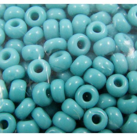 Čekiškas biseris 8/0 (2,9 mm) dydžio, žaliai žydros spalvos, apvalios formos 50g