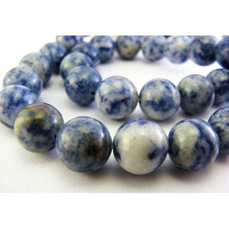 Lapis Lazuli karoliukai mėlynos baltos spalvos apvalios formos 6mm