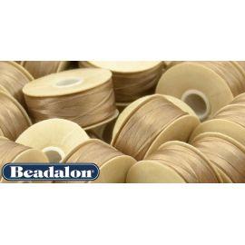 Beadalon Nymo siūlas puikiai tinka biseriui, dydis D, 0.30 mm, šviesiai rudos-smėlio spalvos 58,5 m