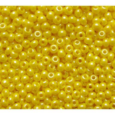 Čekiškas biseris 11/0 (2,1 mm) dydžio, 88110-11 geltonos spalvos, blizgūs, apvalios formos 50g