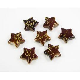 Akriliniai karoliukai žvaigždutė rudos spalvos su aukso juostelėmis 13 mm