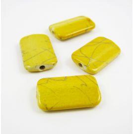 Akriliniai karoliukai geltonos spalvos su pilkomis juostelėmis, stačiakampio formos 18x10 mm