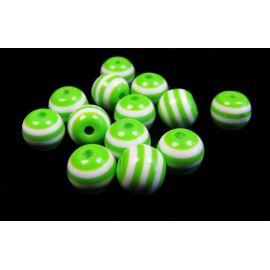 Akriliniai karoliukai baltos-žalios spalvos - dryžuoti, apvalios formos 8 mm