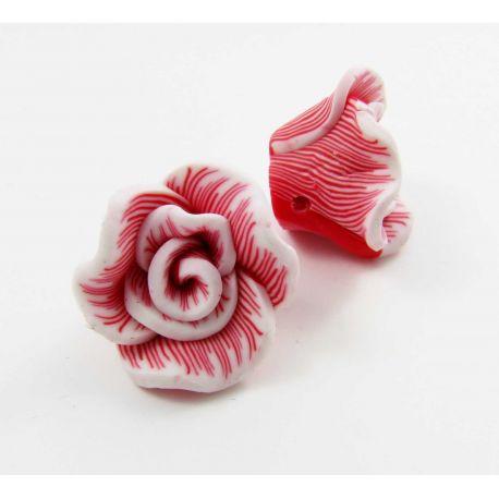"""Fimo karoliukas """"Gėlytė"""" raudonos spalvos 22x12 mm"""