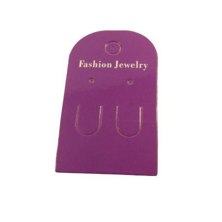 Papuošalų, rankdarbių eksponavimo kortelė auskarams, violetinės spalvos 60x35 mm