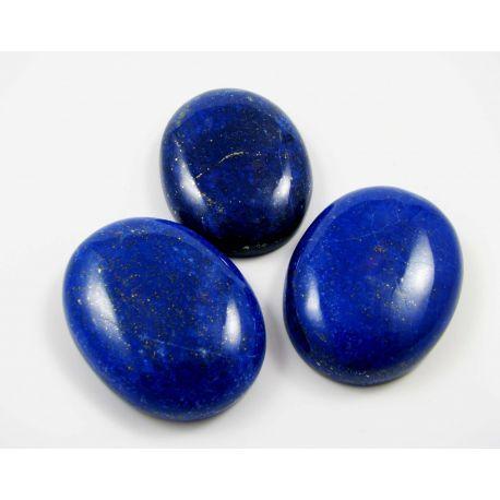 Lazurito kabošonai, nedažyti, ovalo formos, 40x30 mm mėlynos spalvos su Pirtio dulkėmis, kilmės šalis Afganistanas