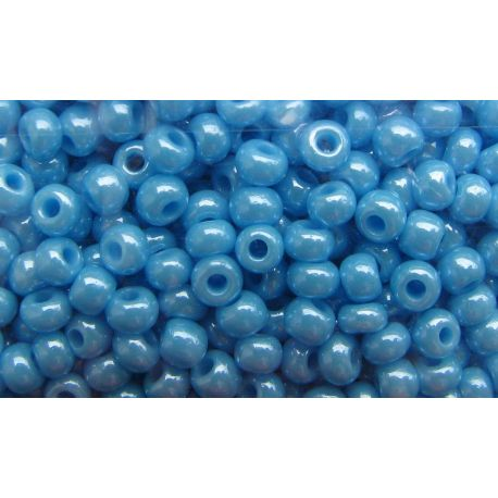 Čekiškas biseris 8/0 (2,9 mm) 00554-8 žydros spalvos, perlamutras, apvalios formos 50g