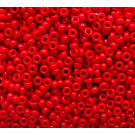 Japoniškas biseris 15/0 dydžio(1684), ryškiai raudonos spalvos, (Rocailles) apvalios formos 5g
