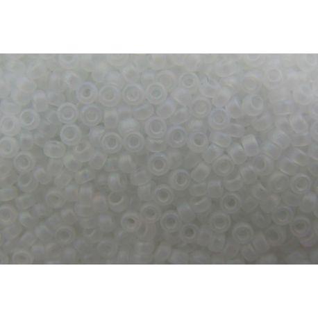 Japoniškas biseris 15/0 dydžio (131FR), baltos spalvos, matiniai, (Rocailles) apvalios formos 5g