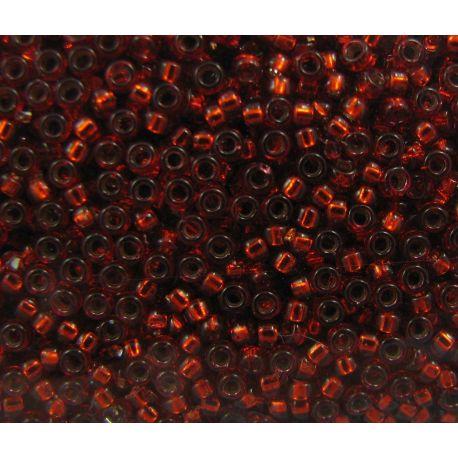 Japoniškas biseris 15/0 dydžio (1434), raudonos spalvos, viduriukas pasidabruotas, blizgūs, (Rocailles) apvalios formos 5g