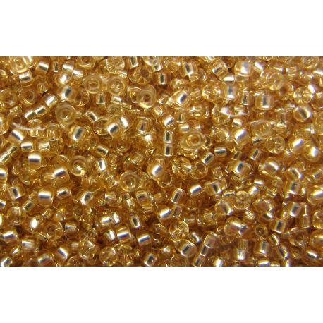 Japoniškas biseris 15/0 dydžio (3), aukso spalvos, skaidrūs, blizgūs, viduriukas pasidabruotas, (Rocailles) apvalios formos 5g