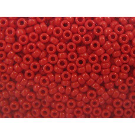 Japoniškas biseris 15/0 dydžio (408), ryškiai raudonos spalvos, (Rocailles) apvalios formos 5g