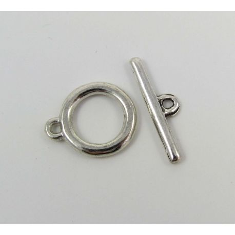 Užsegimas vėriniui su lazdele, apyrankei, rankdarbiams sendintos sidabro spalvos 18x15 mm