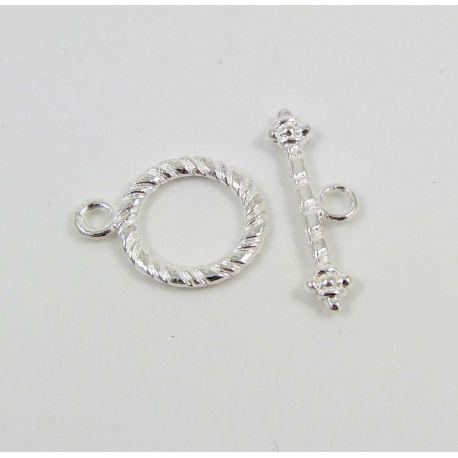 Užsegimas vėriniui su lazdele, apyrankei, rankdarbiams sidabro spalvos 17x13 mm