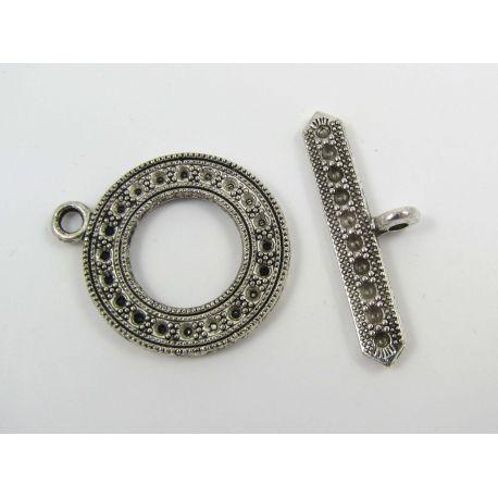 Užsegimas vėriniui su lazdele, apyrankei, rankdarbiams sendintos sidabro spalvos 29x24 mm
