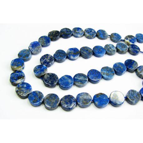 Natūralūs Lapis Lazuli akmeniniai karoliukai, mėlynos spalvos, monetos formos 5-6 mm