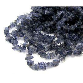 Natūralūs jolito akmeniniai karoliukai, skalda 3,5-7 mm. tamsiai mėlynos spalvos, 90cm ilgio