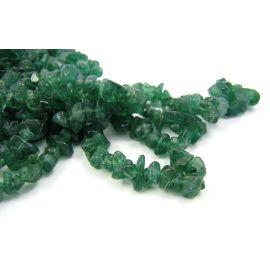 Natūralūs avantiurino akmeniniai karoliukai, skalda 3,5-7 mm. žalios spalvos, 90cm ilgio