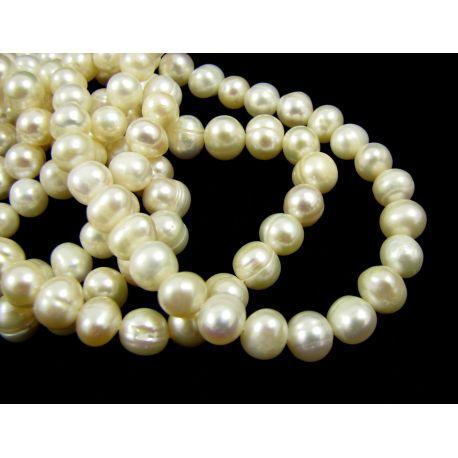 Gėlavandeniai perlai - vėriniams apyrankėms. Baltos spalvos, ovalo formos 5-7 mm