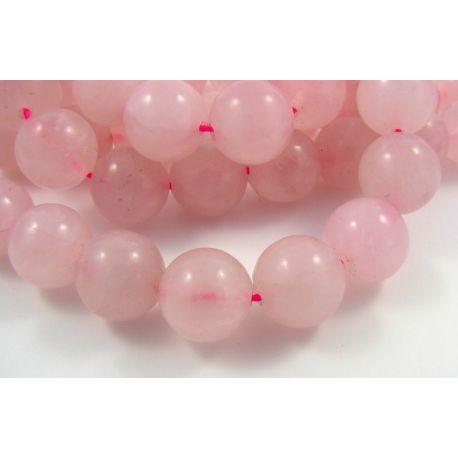 Rožinio kvarco karoliukai, šviesiai rožinės spalvos, apvalios formos 12 mm