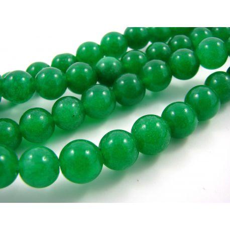 Nefrito karoliukų gija, ryškiai žalios spalvos apvalios formos 10 mm