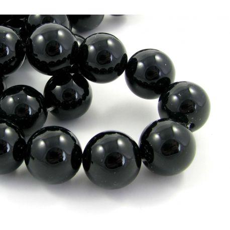 Agato karoliukai, juodos spalvos apvalios formos 14 mm