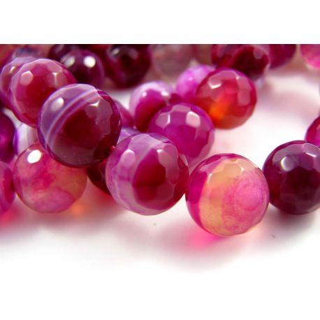 Agato karoliukai violetinės - baltos spalvos, margi, apvalios formos, briaunuoti 10 mm