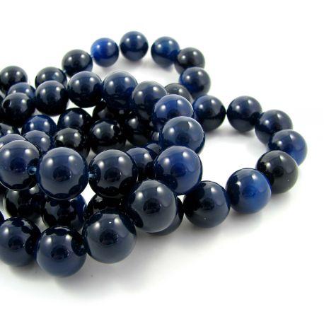 Agato karoliukai tamsiai mėlynos spalvos, apvalios formos 14 mm