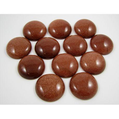 Saulės akmens kabošonas, rudos spalvos 30 mm