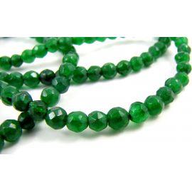 Emeraldo karoliukai ryškiai žalios spalvos apvalios formos, briaunuoti 4 mm