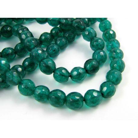Emeraldo karoliukai tamsiai žalios spalvos apvalios formos, briaunuoti 6 mm