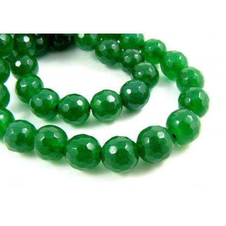 Emeraldo karoliukai ryškiai žalios spalvos apvalios formos, briaunuoti 10 mm