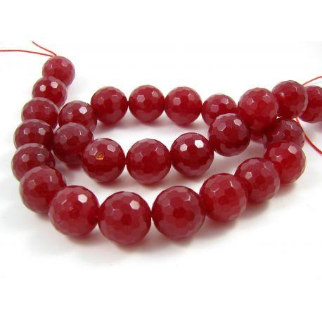 Nefrito karoliukų gija, raudonos spalvos briaunuoti 14 mm