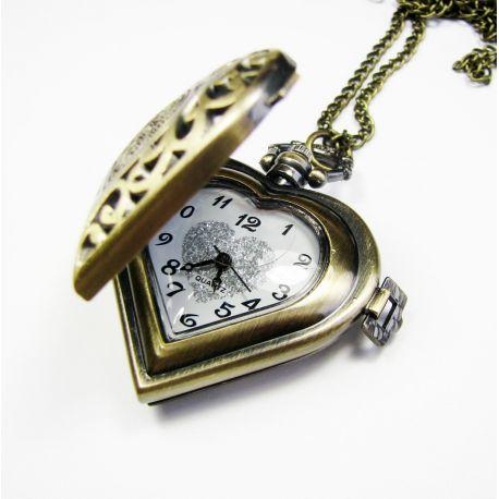 """Kišeninis laikrodis """"Širdelė"""" su elementu"""