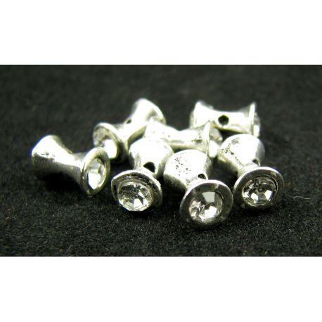 Intarpas, skirtas papuošalų gamybai, sidabro spalvos inkrustuotas baltos spalvos akutėmis, dydis 9x5 mm