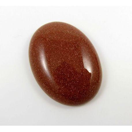 Saulės akmens kabošonas, rudos spalvos, paviršius blizgus, ovalo formos, dydis 40x30 mm