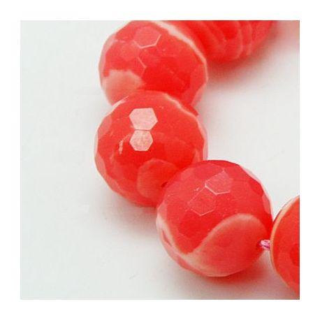 Rodochrozito karoliukai, raudonai rožinės spalvos su baltos spalvos juostelėmis, dažyti, apvalios formos, briaunuoti (128 briau