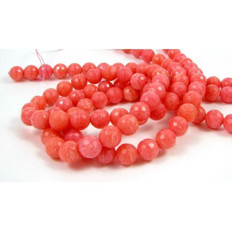 Koralo karoliukai - gija, raudonai spalvos su baltos spalvos juostelėmis, dažyti, apvalios formos, briaunuoti (128 briaunos), 1