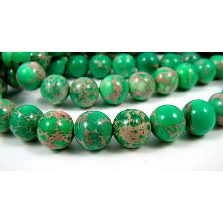 Imperial jaspio karoliukai, žalios spalvos, margi, apvalios formos dydis 8 mm