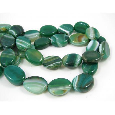 Agato karoliukai, žalios-baltos spalvos, margi, ovalo formos, 20x15 mm