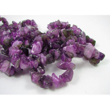 Ametisto skaldos karoliukai, violetinės-baltos spalvos, gijos ilgis ~ 90 cm