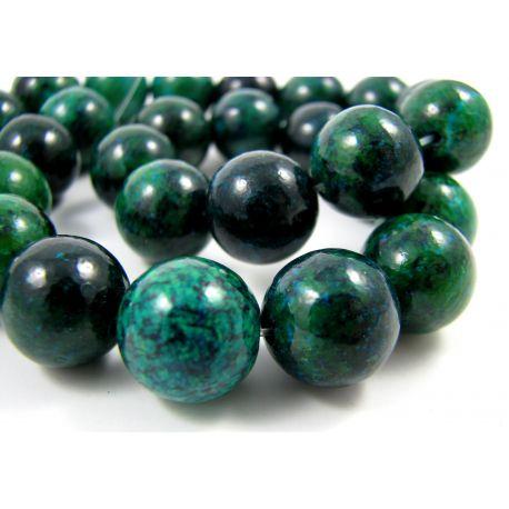 Azurito chrizokolos karoliukai, žalios spalvos, margi, apvalios formos, 14 mm